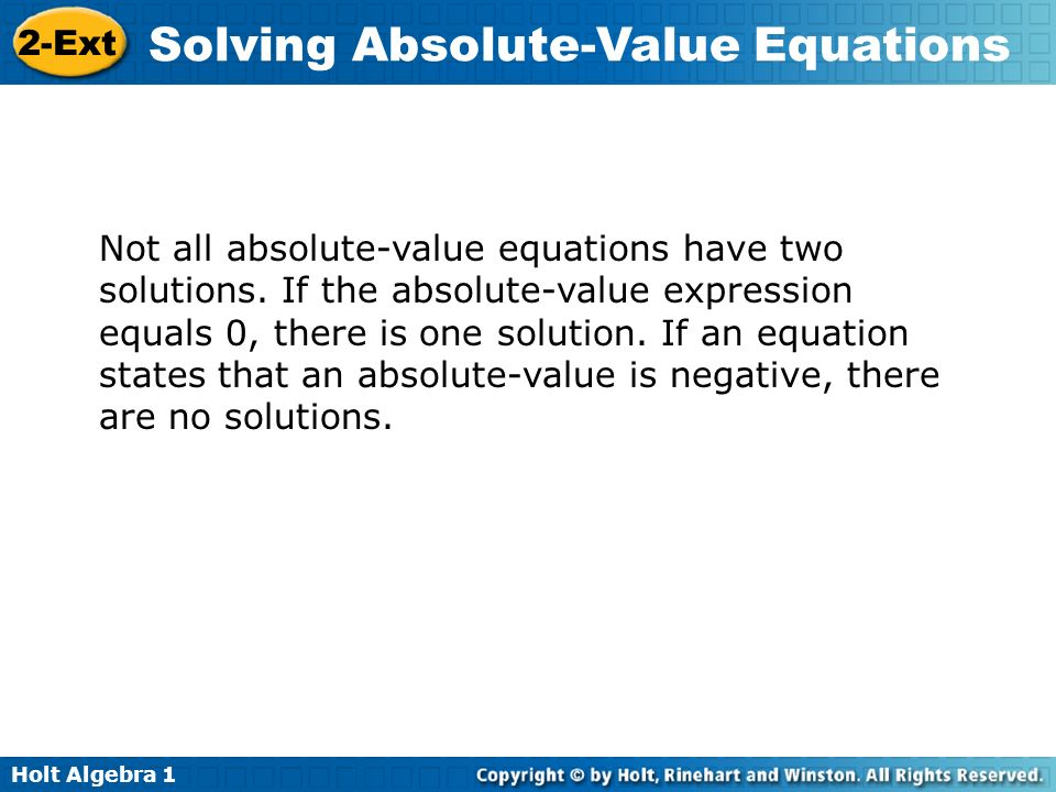 Not all absolute-value equations have two solutions