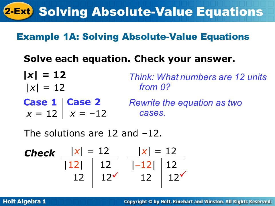Example 1A: Solving Absolute-Value Equations