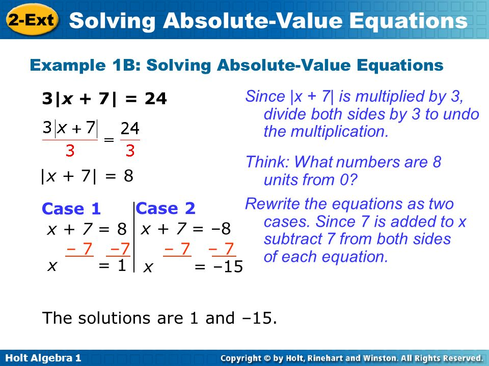 Example 1B: Solving Absolute-Value Equations