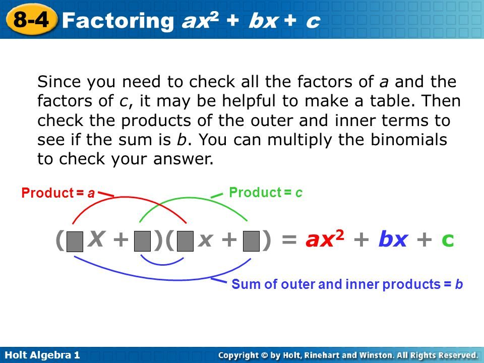 Since you need to check all the factors of a and the factors of c, it may be helpful to make a table. Then check the products of the outer and inner terms to see if the sum is b. You can multiply the binomials to check your answer.
