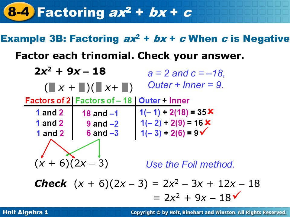 Example 3B: Factoring ax2 + bx + c When c is Negative