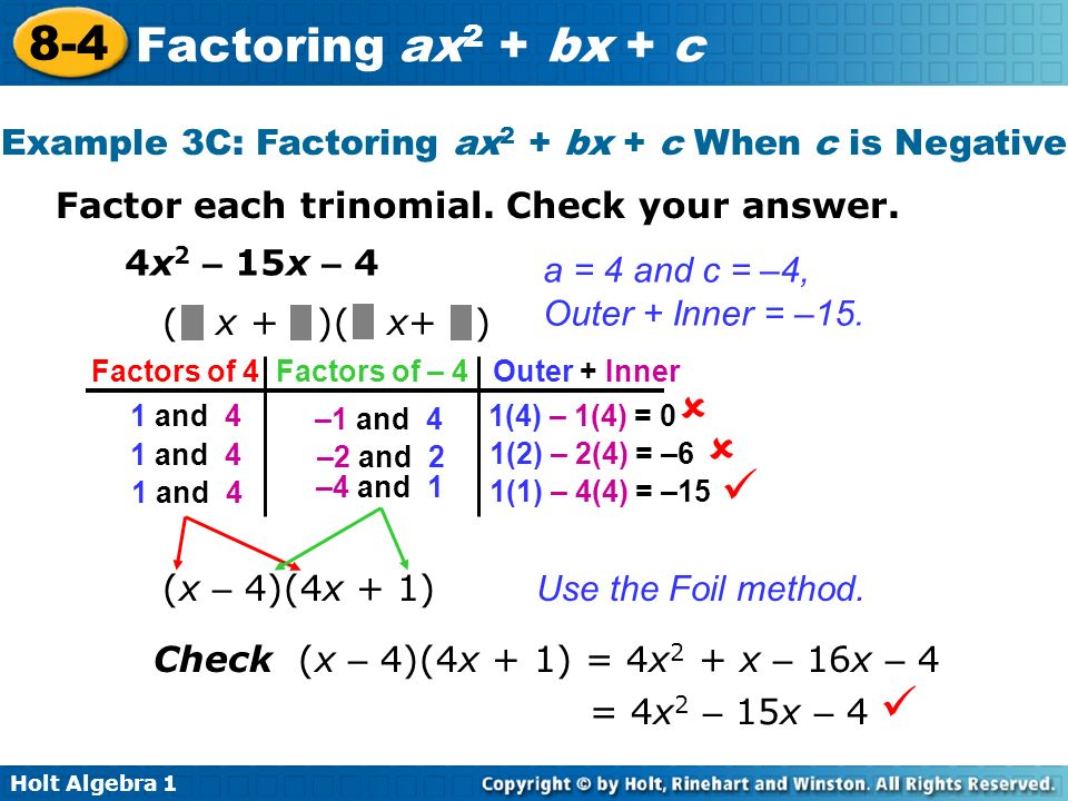 Example 3C: Factoring ax2 + bx + c When c is Negative