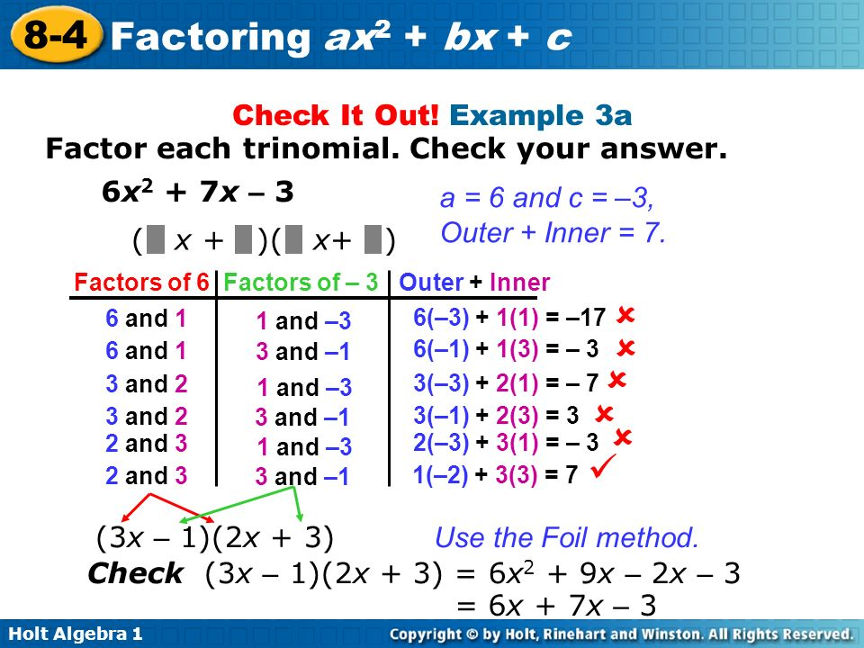   Check It Out! Example 3a Factor each trinomial. Check your answer.