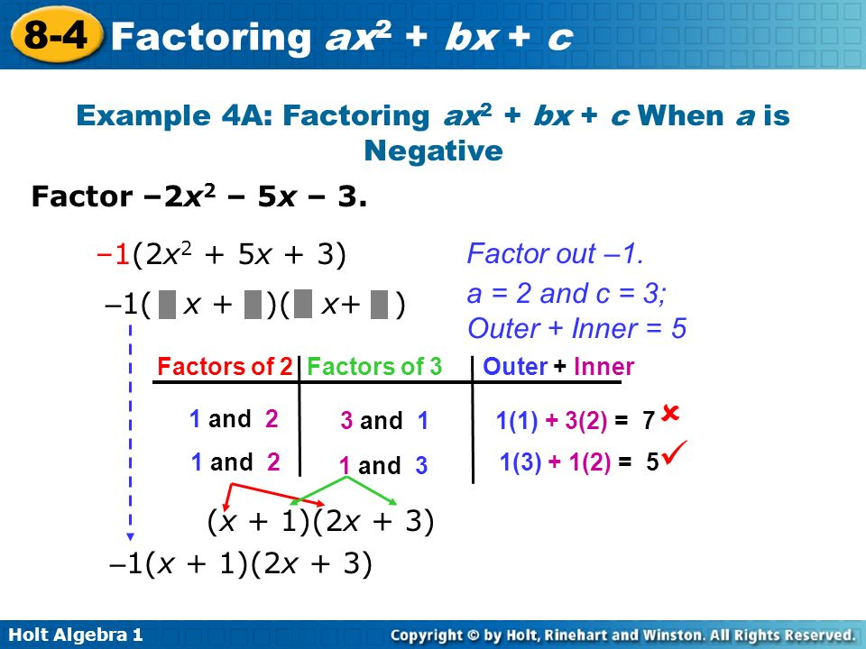 Example 4A: Factoring ax2 + bx + c When a is Negative