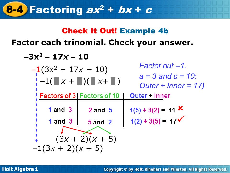   Check It Out! Example 4b Factor each trinomial. Check your answer.