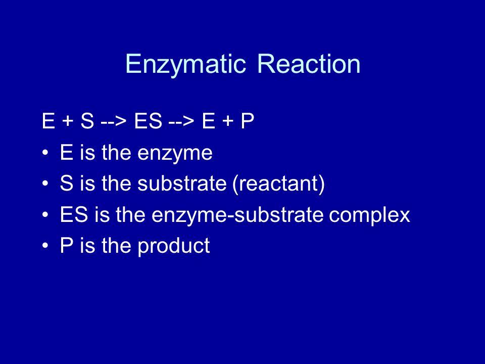 Enzymatic Reaction E + S --> ES --> E + P E is the enzyme