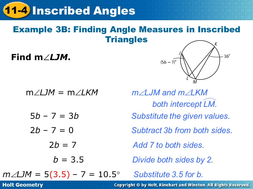 Example 3B: Finding Angle Measures in Inscribed Triangles