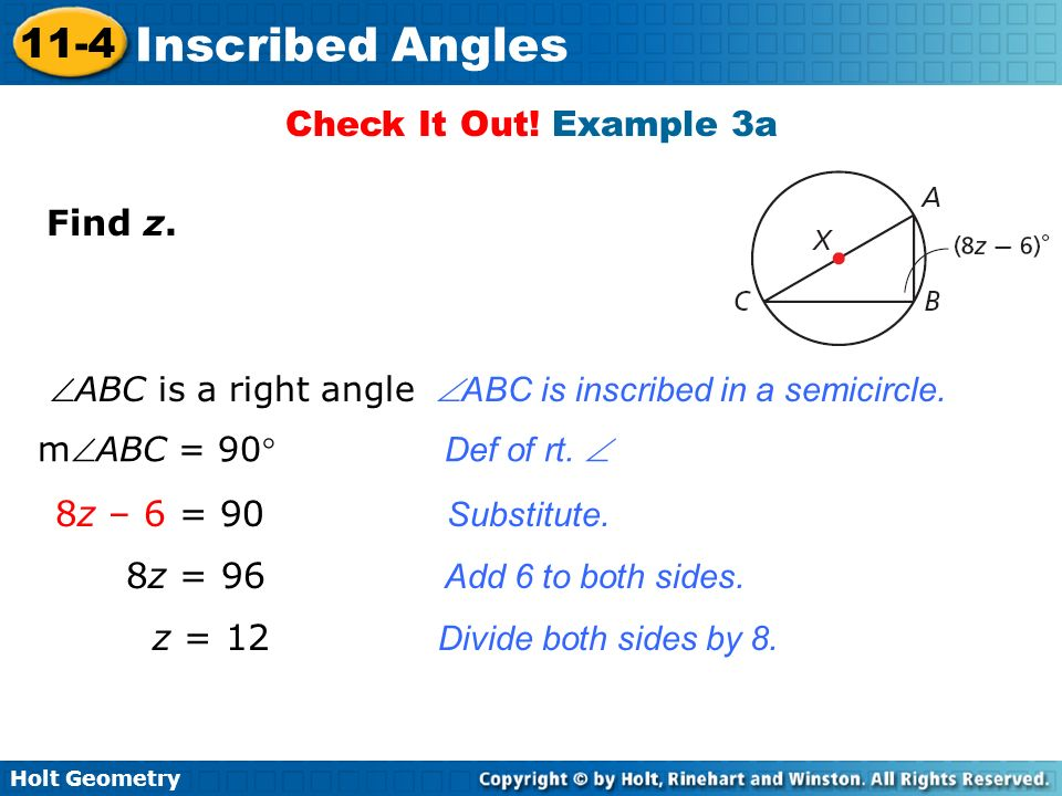 Check It Out! Example 3a Find z. 8z – 6 = 90 Substitute.