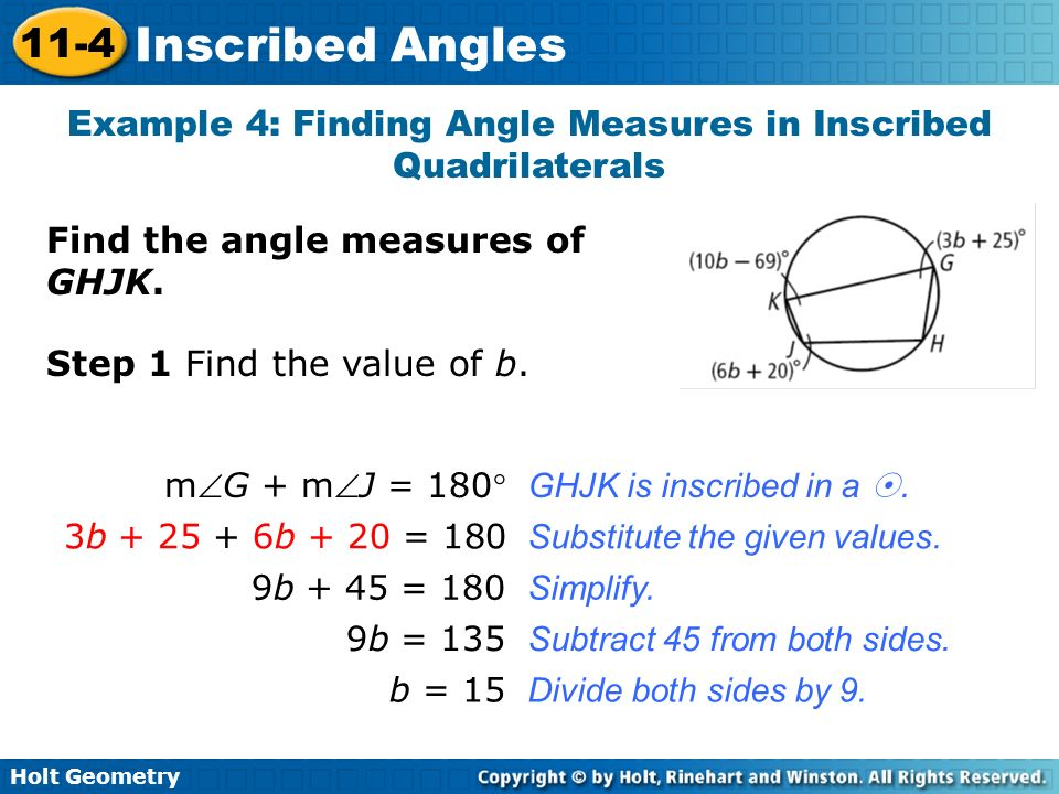 Example 4: Finding Angle Measures in Inscribed Quadrilaterals