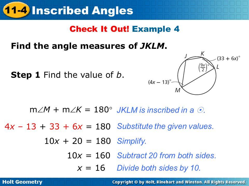 Find the angle measures of JKLM.