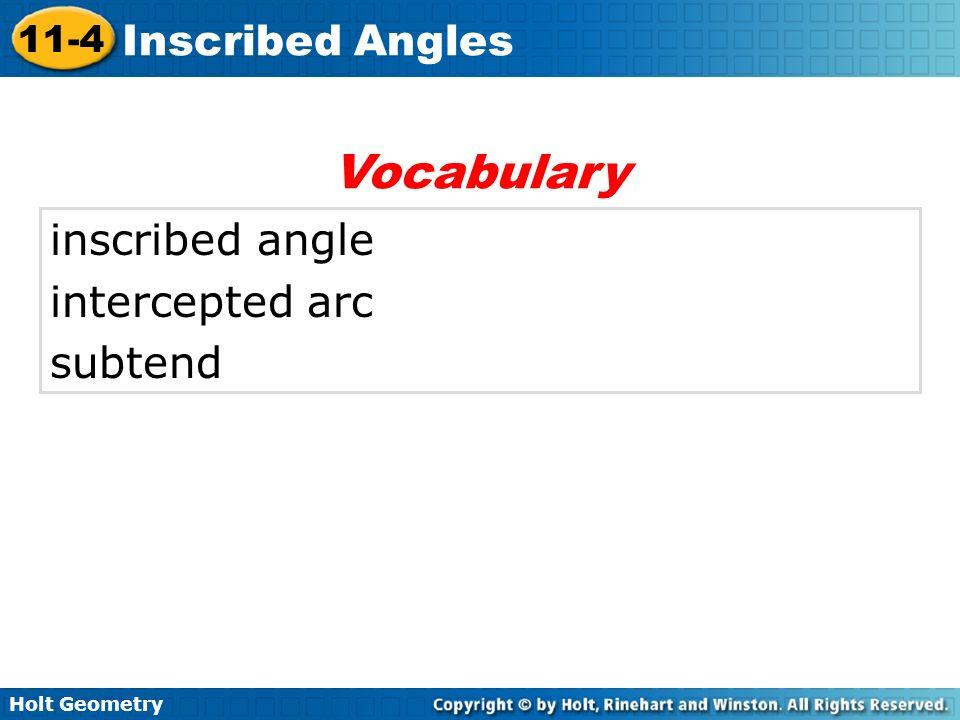 Vocabulary inscribed angle intercepted arc subtend