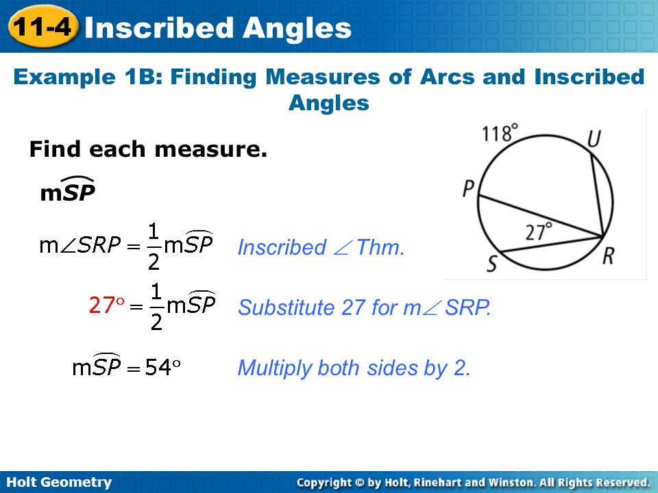 Example 1B: Finding Measures of Arcs and Inscribed Angles
