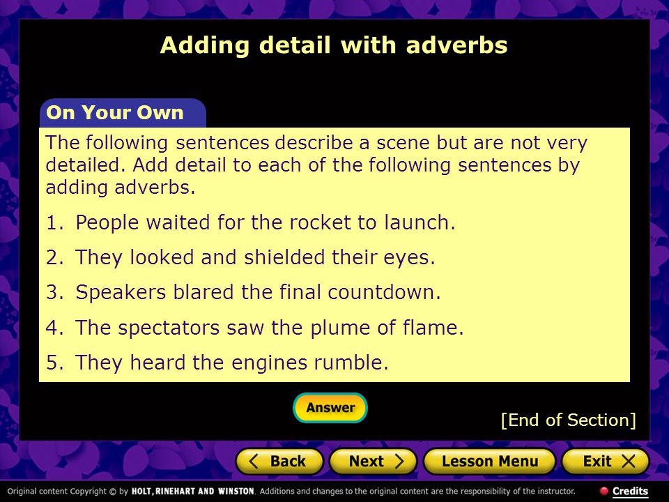Adding detail with adverbs