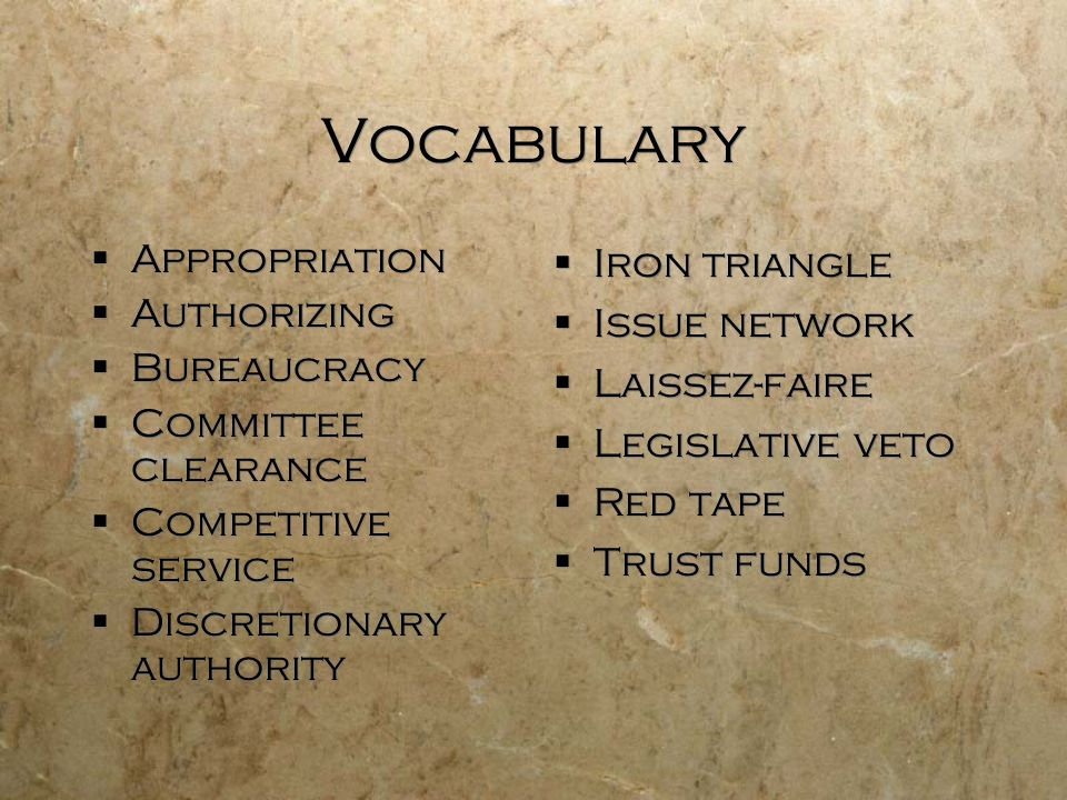 Vocabulary Appropriation Authorizing Bureaucracy Committee clearance