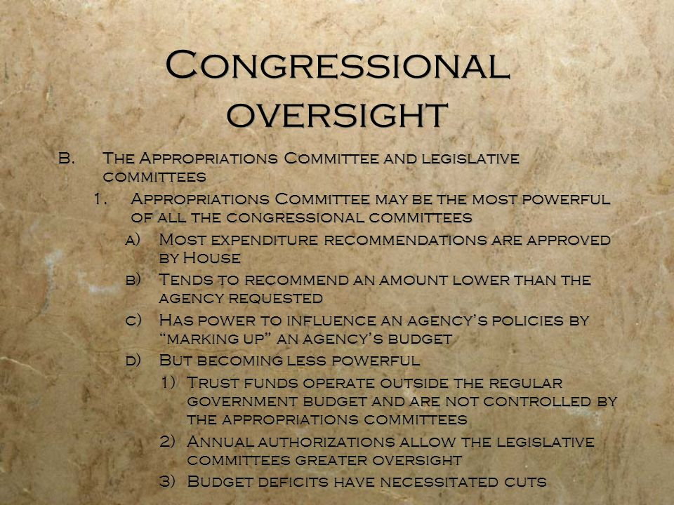Congressional oversight