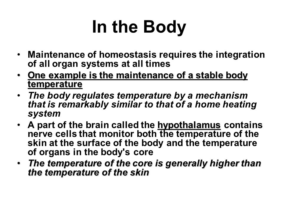 body temperature maintenance Under normal circumstances, the body controls its temperature within a very tight  tolerance, with the core being 2-4˚c warmer than the.