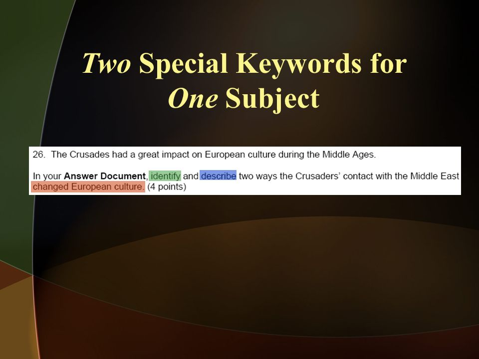 Two Special Keywords for One Subject