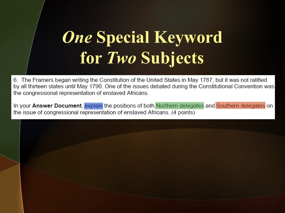 One Special Keyword for Two Subjects