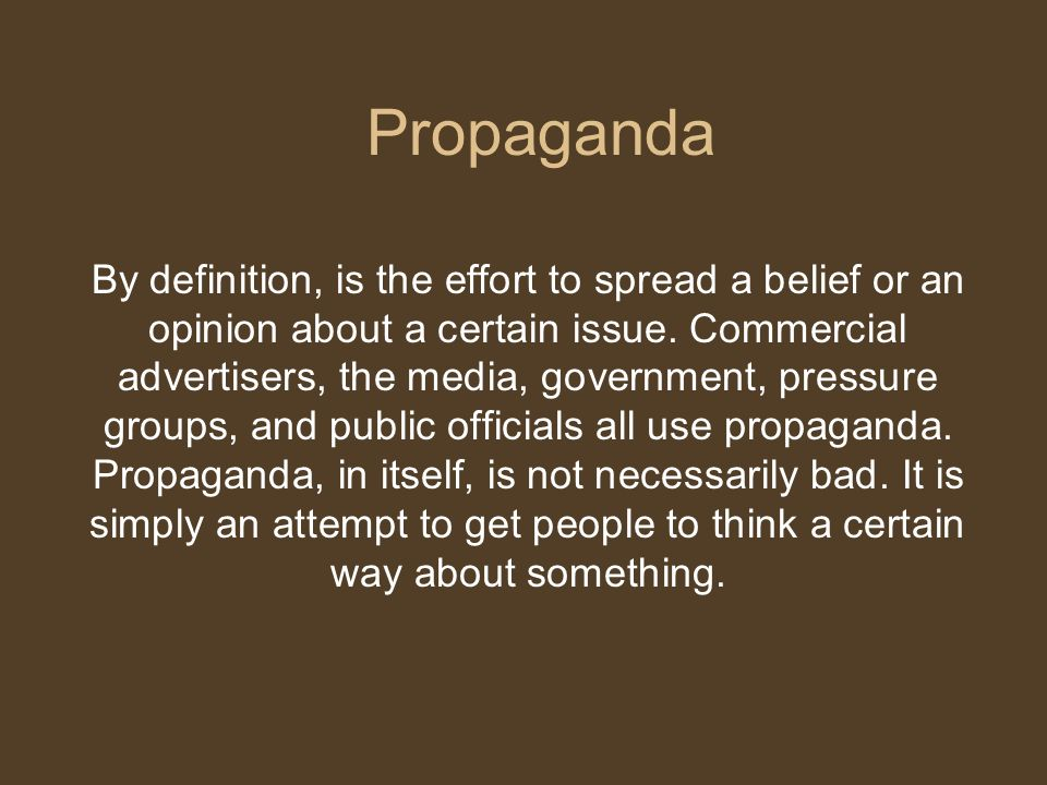 definition of propaganda Propaganda definition: propaganda is defined as the systematic, widespread distribution of specific ideas, doctrines, practices which can help one cause or be.