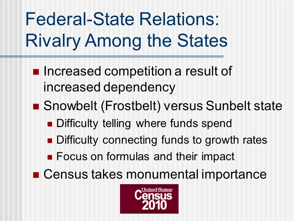 Federal-State Relations: Rivalry Among the States