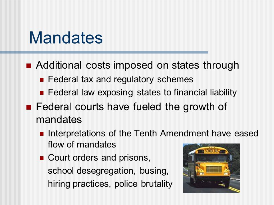 Mandates Additional costs imposed on states through