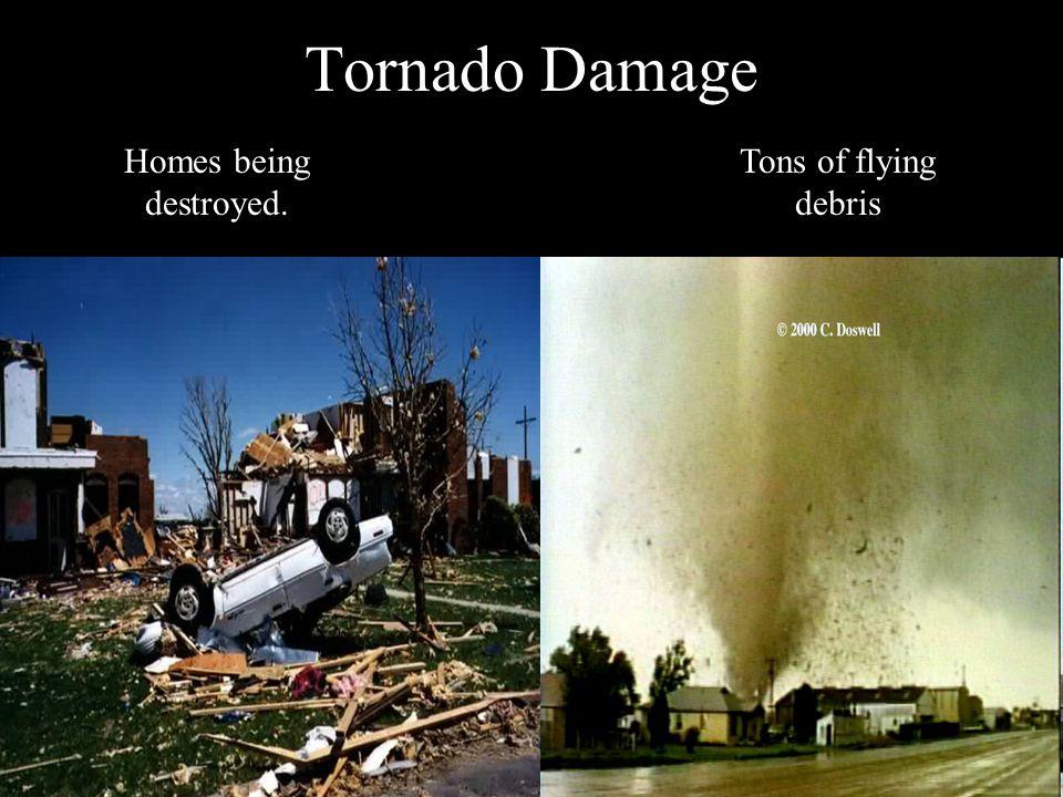 Tornado Damage Homes being destroyed. Tons of flying debris