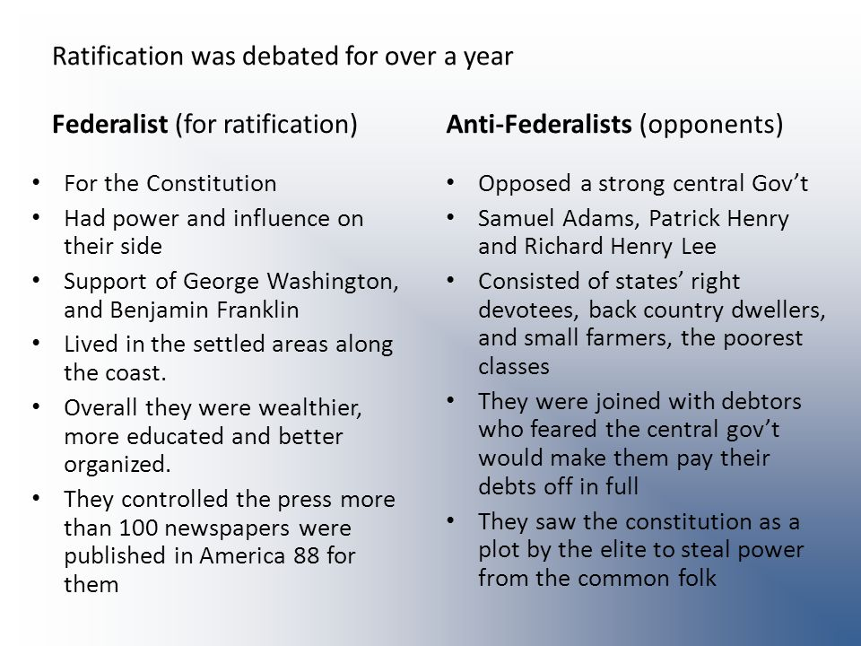 Ratification was debated for over a year