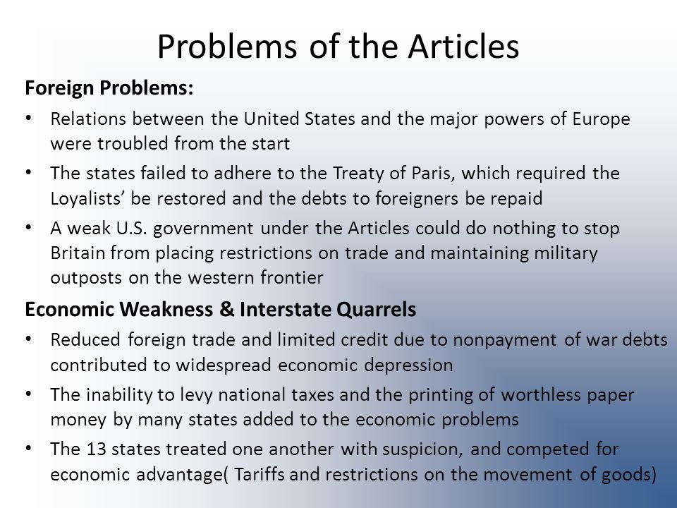 Problems of the Articles