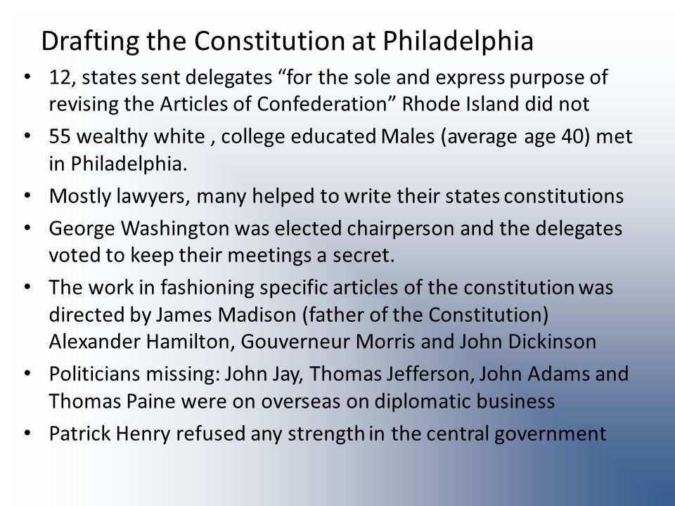 Drafting the Constitution at Philadelphia