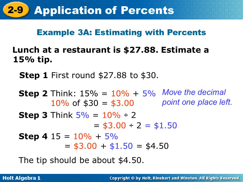 Example 3A: Estimating with Percents
