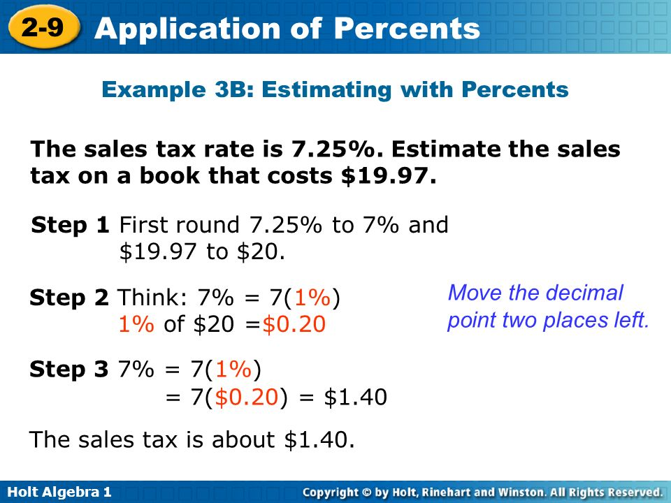 Example 3B: Estimating with Percents