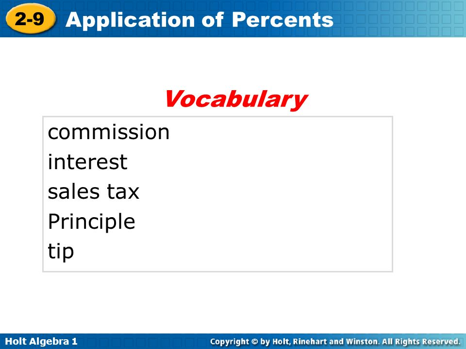 Vocabulary commission interest sales tax Principle tip