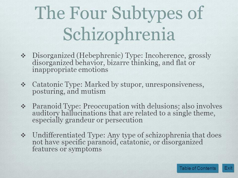 The Four Subtypes of Schizophrenia