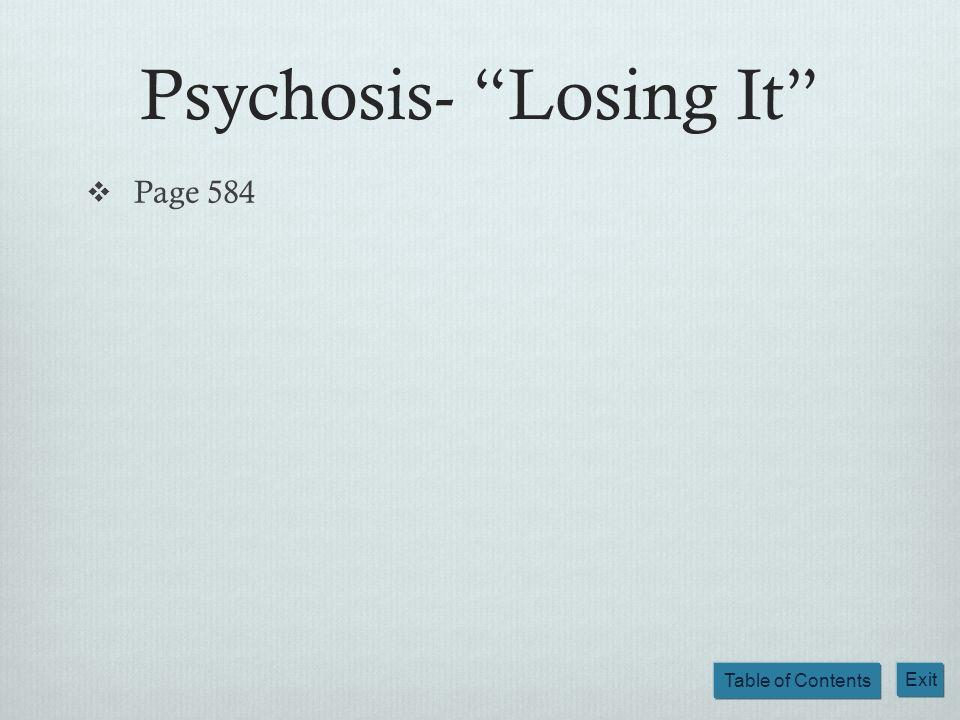Psychosis- Losing It