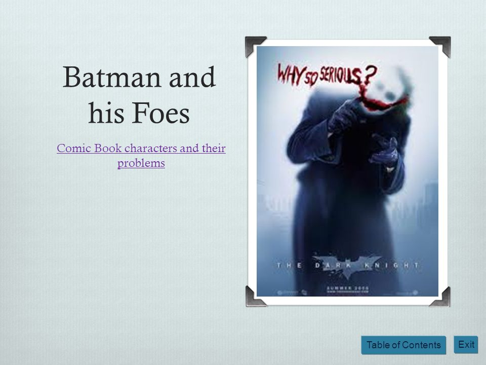 Comic Book characters and their problems