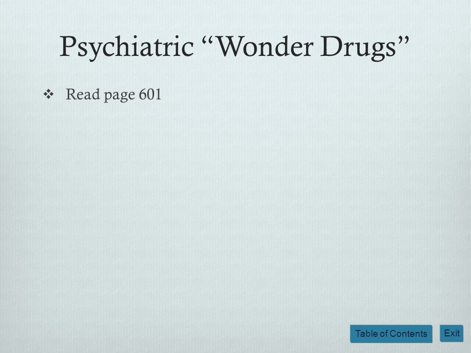 Psychiatric Wonder Drugs