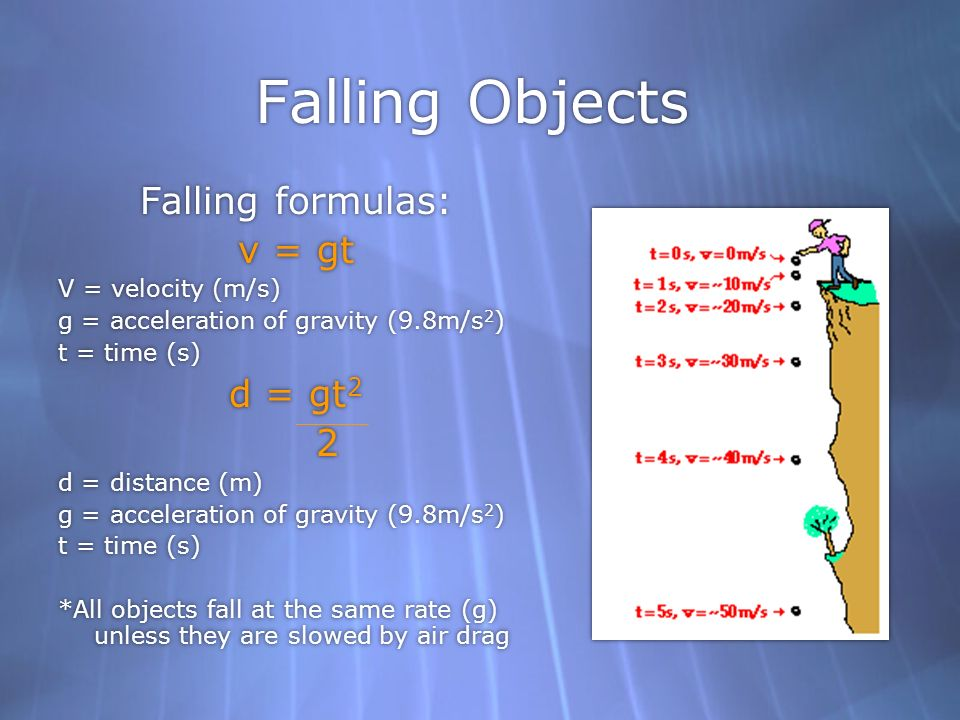 Falling Objects Falling formulas: v = gt d = gt2 2 V = velocity (m/s)