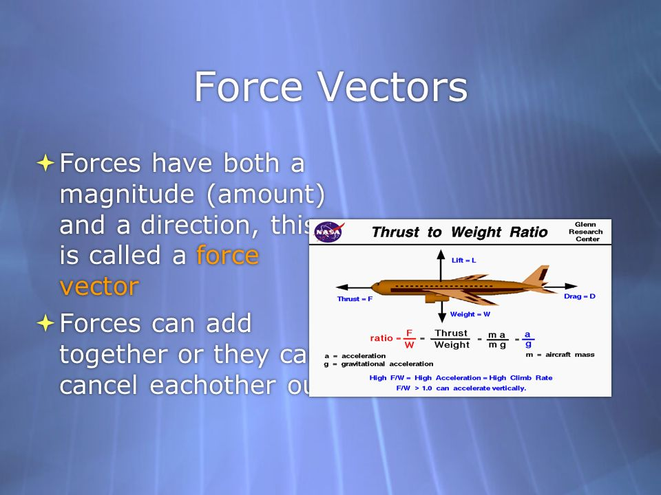 Force Vectors Forces have both a magnitude (amount) and a direction, this is called a force vector.