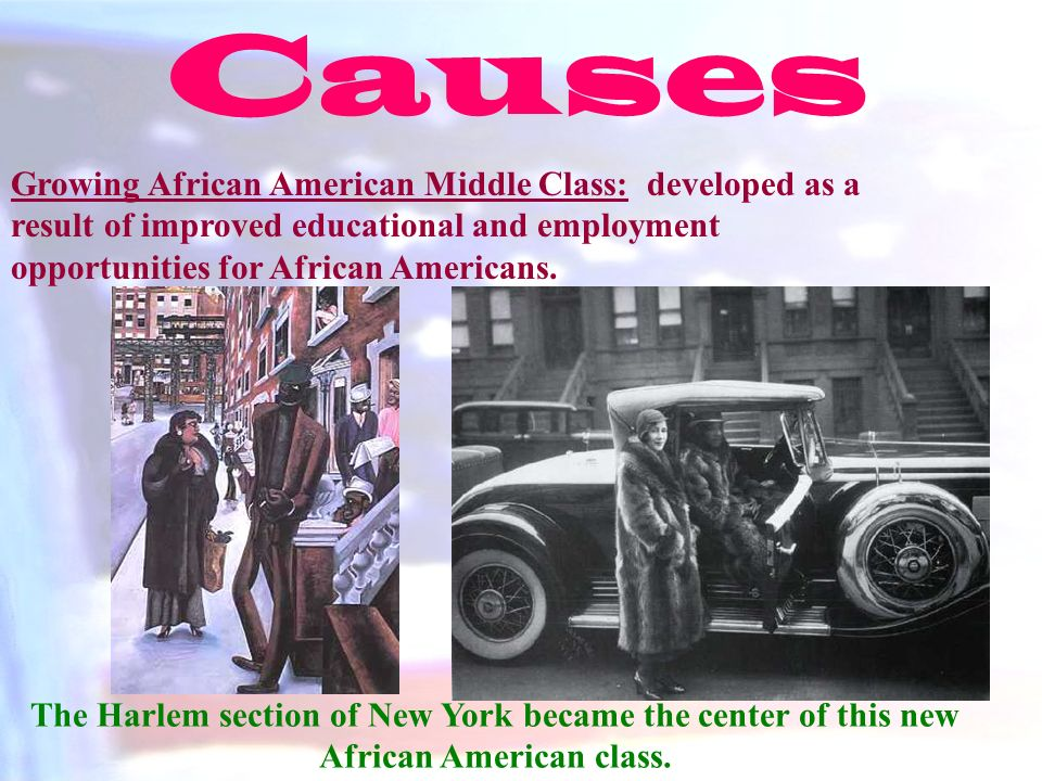 Causes Growing African American Middle Class: developed as a result of improved educational and employment opportunities for African Americans.
