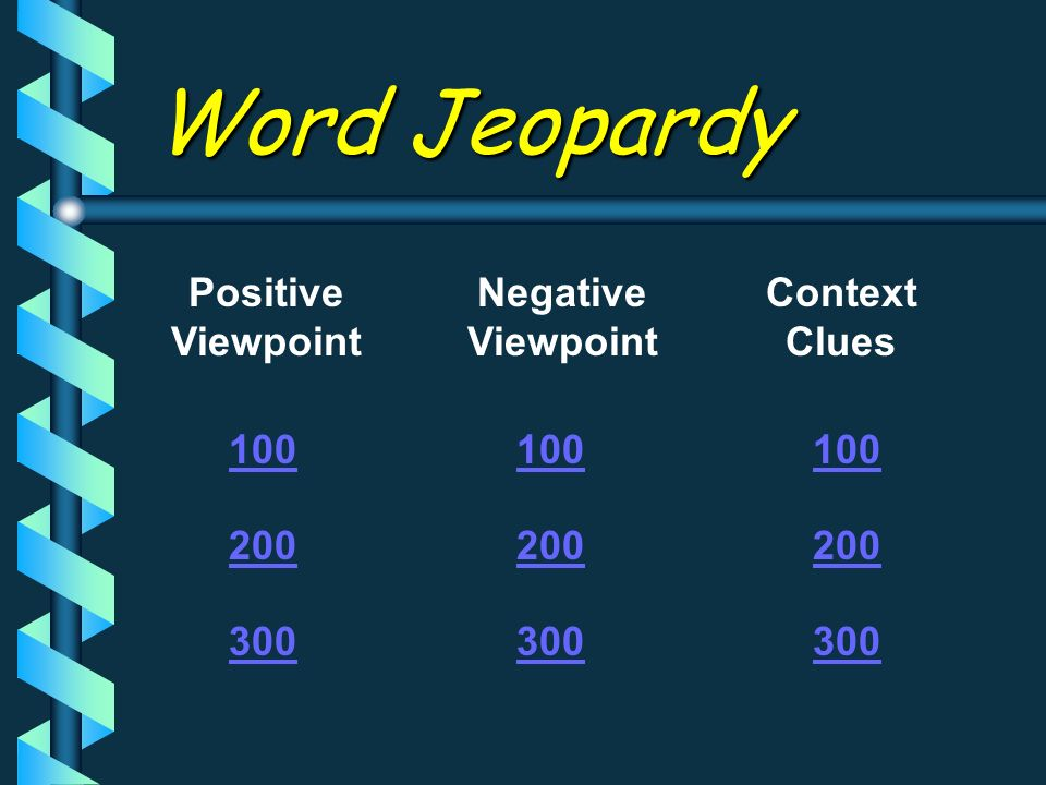 Word Jeopardy Positive Viewpoint Negative Viewpoint Context Clues 100