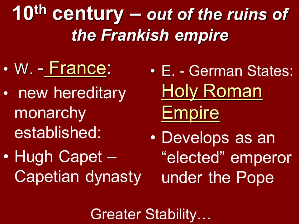 10th century – out of the ruins of the Frankish empire