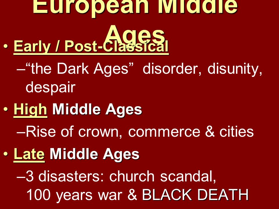 European Middle Ages Early / Post-Classical
