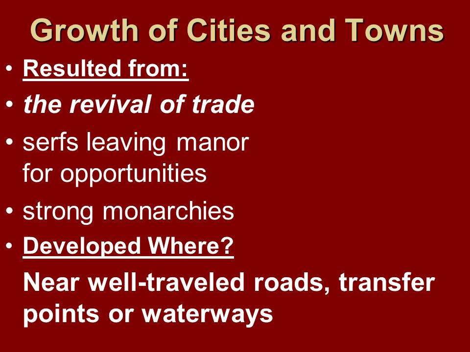 Growth of Cities and Towns