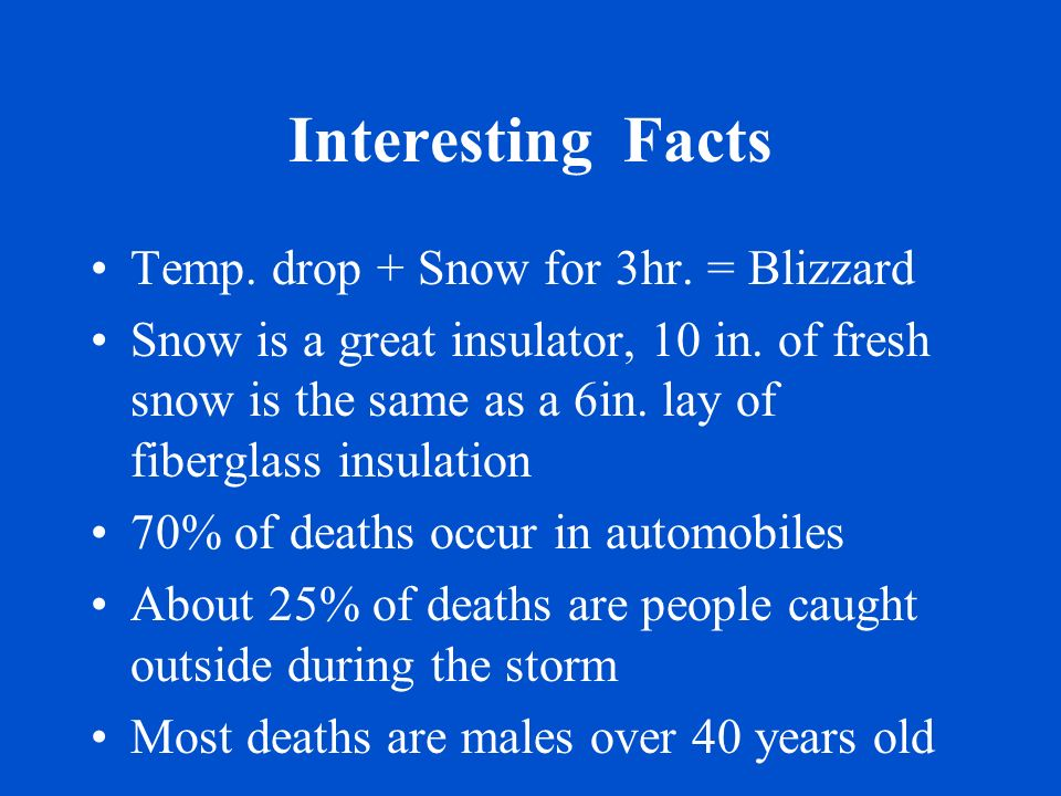 Interesting Facts Temp. drop + Snow for 3hr. = Blizzard