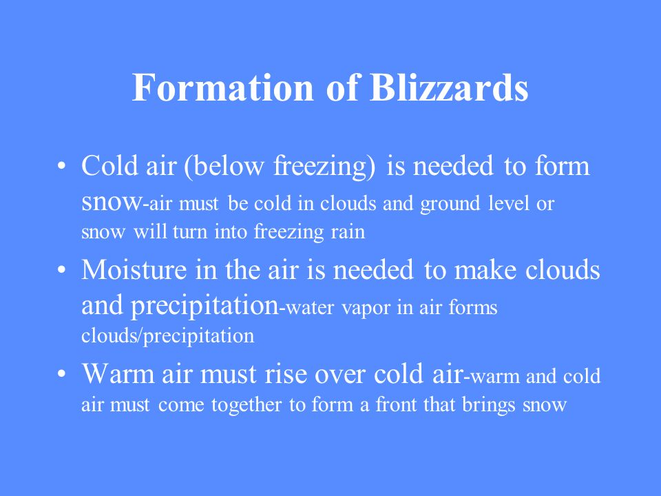Formation of Blizzards