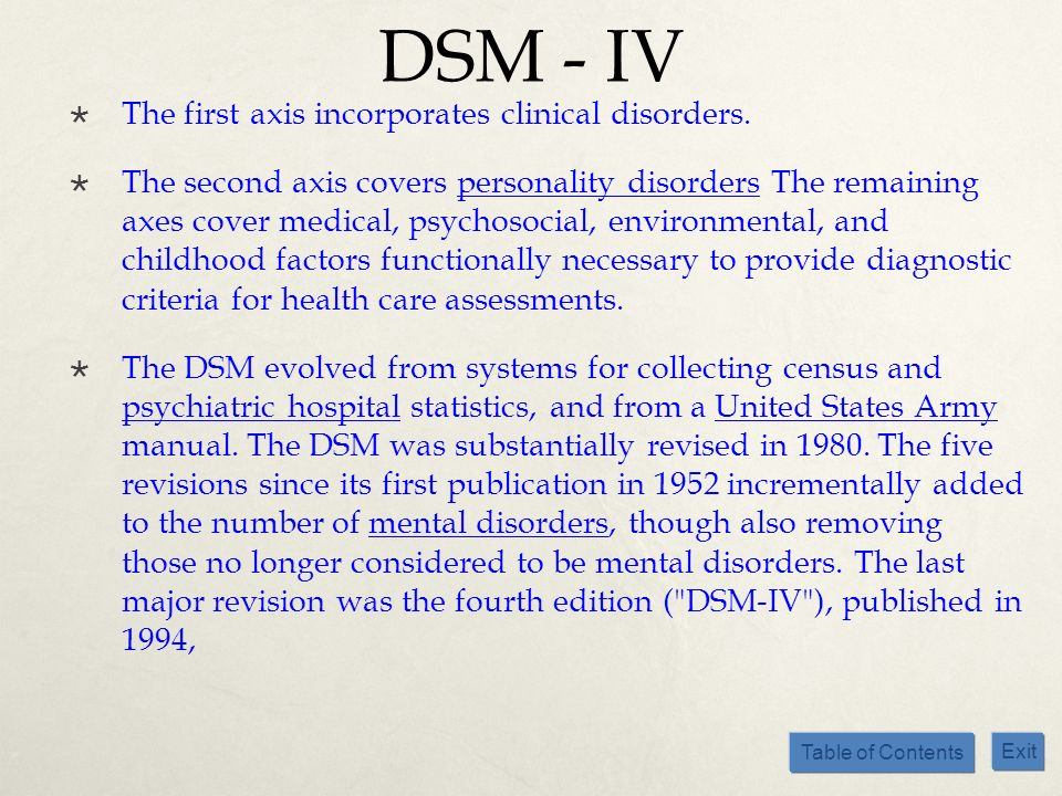 DSM - IV The first axis incorporates clinical disorders.