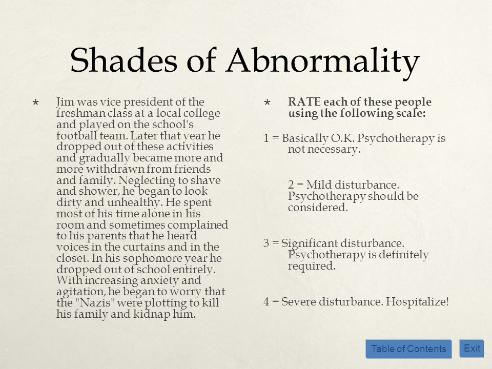 Shades of Abnormality