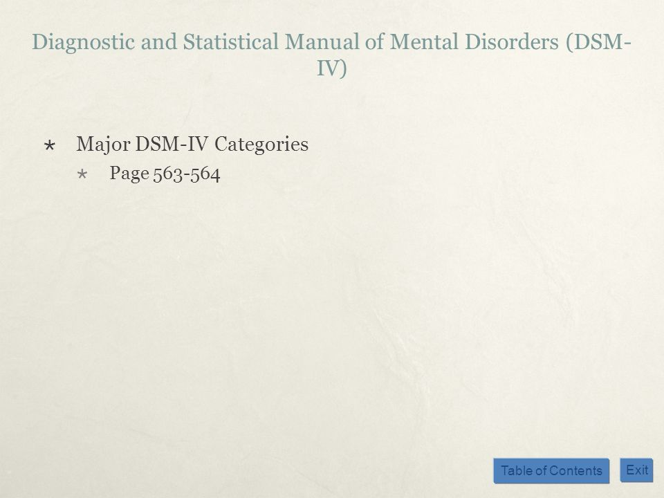 Diagnostic and Statistical Manual of Mental Disorders (DSM-IV)