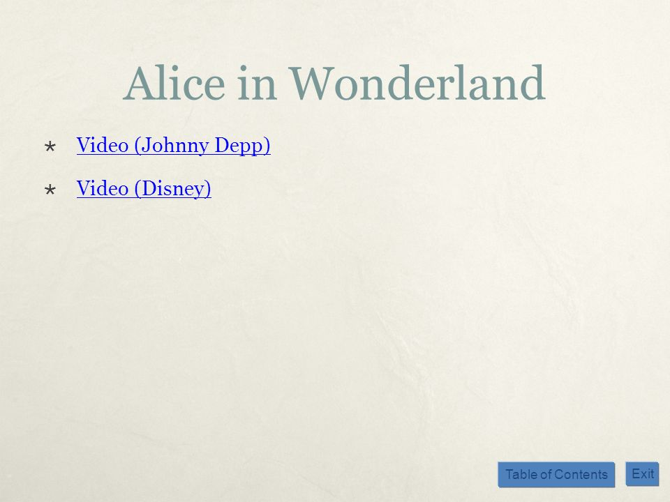 Alice in Wonderland Video (Johnny Depp) Video (Disney)