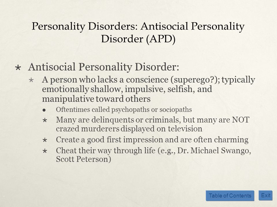Personality Disorders: Antisocial Personality Disorder (APD)